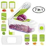 BHY Gemüseschneider, Gemüsehobel,Multischneider Küche Kartoffelschneider, 7 in 1 Reibe und Hobel für Obst Gemüse Schneidemaschine mit Würfeln, Scheiben, Reiben, Slicer aus Edelstahl