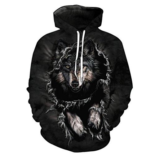 Hoodie Sweatshirt Herren Damen, DoraMe Männer Frauen Wolf 3D Gedruckte Lange ärmel Kapuzenpulli Lässig Party Kapuze Pullover Bluse Shirt (Schwarz, L) (Leinen-mischung-jacke)