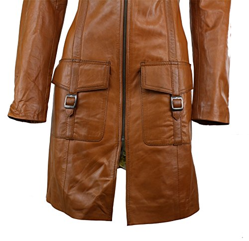 Damenjacke 100% Echtleder Braun Vintage Design Weiches Leder Trench Mantel (Jacke Mantel Leder Mäntel Trench)