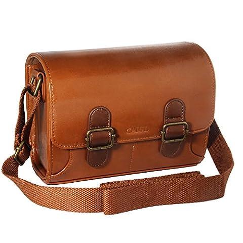 [Fujifilm Instax Mini Tasche] - CAIUL Universal Tasche Kuriertasche Schutzhülle für Instax Mini 7s 8 8+ 25 50s Jahre 70 90 Kamera, Polaroid ZIP Mobildrucker, Instax Drucker (Braun)