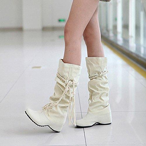 Women Boots Shoes, SOMESUN Le donne alzano le piattaforme cosce alti tessali stivali scarpe moto Beige