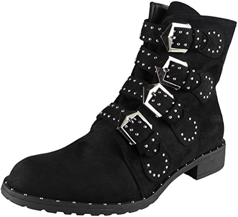 98edb0f71072 Ladies Stud Buckle Strap Zip Low Heel Heel Heel Army Biker Ankle Boots Shoes  Size 3-8 B07663N43R Parent 2e384e