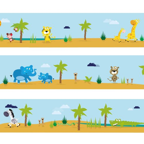 Wandkings Bordüre 'Große Safaritour' Länge: 450 cm, selbstklebend, für's Kinderzimmer