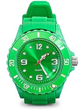 Armbanduhr mit Silikonarmband Unisex Uhr in Hellgrün