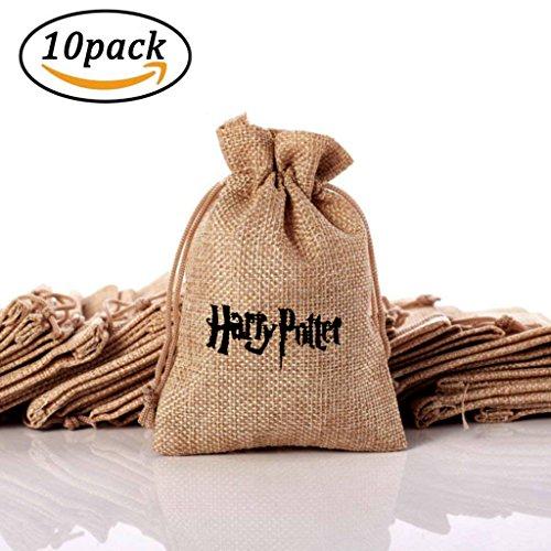 Ausgezeichnete Harry Potter Theme Cute Present Taschen, Vintage Jute Geschenk-Taschen für Schmuck, Schöne Geschenke, Hochzeitsfest Gefälligkeiten. Geschenktüten mit Kordelzug (10 Stück)