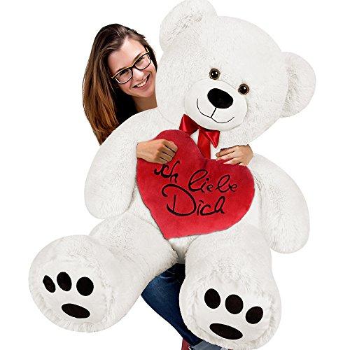 (Deuba Teddybär XXL Valentinstag Kuscheltier Teddy Plüschtier Plüsch Herz Plüschbär Weiches Kuschel Herzkissen mit 32cm Durchmesser und Ich Liebe Dich Aufschrift)