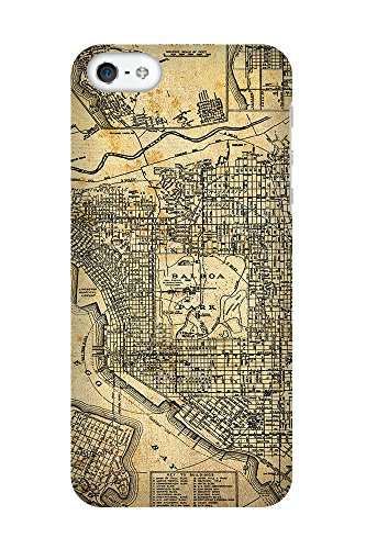 iPhone 4/4S Coque photo - Retro Map San Diego Sépia