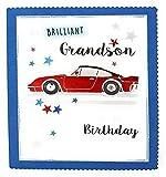 Brilliant Enkelsohn On Your Geburtstagskarte Auto rot blau weiss Sterne 18cm X 15.5cm