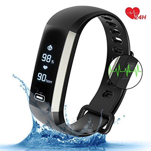 Fitness Armband Uhr mit Pulsmesser Blutdruck Monitor Fitness Tracker Wasserdicht Aktivitätstracker Schrittzähler Schlaf Monitor,Kalorienzähler Anruf / SMS Benachrichtigung für Android 4.4, IOS 8.0 (Schwarz)