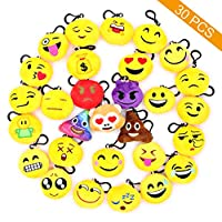 Coideal Emoji Keychains Mini Cute Plush Pillows for Bag Phone,Cute Fluffy Key Ring Hanging Ornament with Smiling Face for Car Handbag Tote,Kids,Festival,Birthday Party Decoration