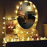 MOVEONSTEP Led Lichterkette Sterne 30er Batterienbetriebene für Party, Garten, Weihnachten, Halloween, Hochzeit, Beleuchtung Deko usw. 4,5M warm weiß [Energieklasse A++]
