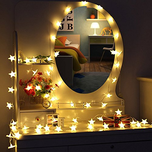 MOVEONSTEP Stringa di Luci, Catena Luminosa, 30 LED Stelle, 4,65 Metri, Decorativa da Interni e Esterni, Anche per Festa, Giardino, Natale, Halloween, Matrimonio (30 LED)