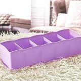erthome Kunststoff Kosmetik Organizer Aufbewahrungsbox 5 Slot Krawatte BH Socken Schublade Divider Tidy (10.63x2.56x3.35 inch, Lila)