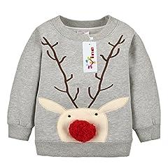 Idea Regalo - Felpe Sportive del Natale cervi per Bambine e ragazze Pullover Bambini a Manica Lunga Maglione Vine 12 mesi