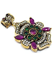 Silvestoo India Emerald, Ruby & Topaz (Lab) 925 Sterling Silver With Bronze Pendant PG-104556