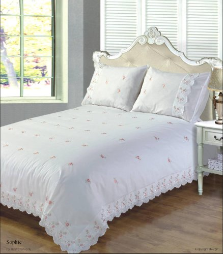 Sophie Floral Lace Trim Embroidered Duvet Quilt Cover Bedding Set, Polyester-Cotton, White, Super-King