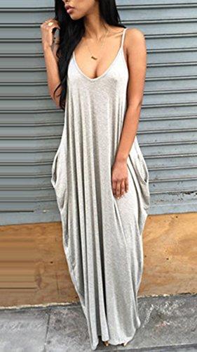Preisvergleich Produktbild hippolo Unregelmäßige Sling Tiefer V Taschen Kleid Silber XL