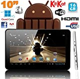 Tablette tactile 10 pouces Android 4.4 KitKat Quad Core 16 Go Blanc
