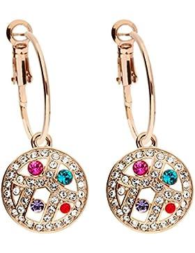 MYA art Damen Creolen Ohrringe Ohrhänger Runde Platte Anhänger mit bunten Swarovski Elements Kristallen Steinen...