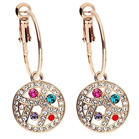 MYA art Damen Creolen Ohrringe Ohrhänger Runde Platte Anhänger mit bunten Swarovski Elements Kristallen Steinen Rosegold Vergoldet bunt MYARGOHR-49