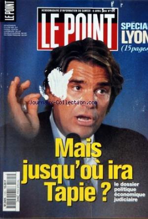 POINT (LE) [No 1125] du 09/04/1994 - MAIS JUSQU'OU IRA TAPIE ? - LA LETTRE DE CATHERINE PEGARD - JACQUES FAIZANT - FRANCE - ELECTION EUROPEENNES - BAUDIS ENTRE EN SCENE - EUROPEENNES - VILLIERS, LE VIBRION - EUROPEENNES - A HUE ET A WURTZ - ELECTIONS - REUNION A LA REUNION - ELF - LE PAVE DE JAFFRE - STARS - OU SERONT-ILS A LA RENTREE ? - INTERVIEW - LA PRESSE, DEMAIN - FIS - LA BASE FRANCAISE - EN FORME-EN PANNE - MONDE - ISRAEL-PALESTINIENS - L'HORREUR ET
