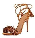 Lutalica Damen Wildleder Knöchelriemen Stiletto High Heel Schnüren Quaste Sandalen für Den Sommer Braun Größe 45 EU