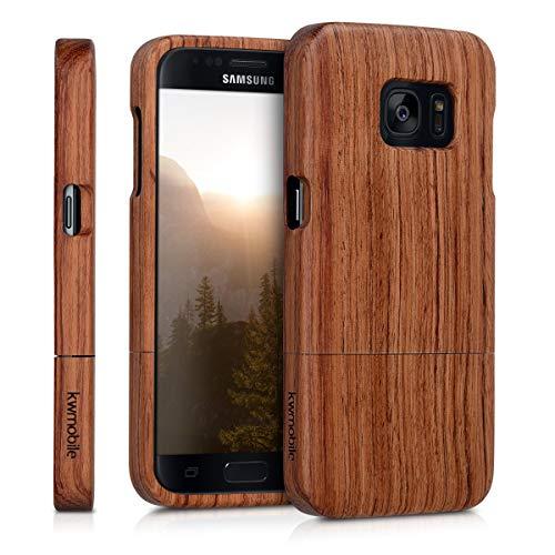 kwmobile Samsung Galaxy S7 Cover Legno - Custodia in Legno di sapelli Naturale - Case Rigida Backcover per Samsung Galaxy S7