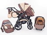 Kinderwagen Babywagen Kombikinderwagen TriBeCe Cloud 3 in 1 Komplettset mit Zubehör 0-3 Jahre 0-15 kg Insektenschutz Netz Regenschutz Getränkehalter Buggy Autositz