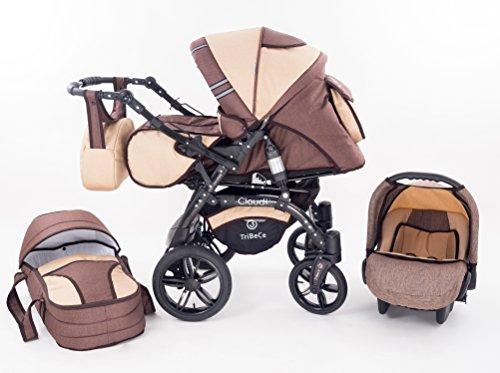 Kinderwagen Babywagen Kombikinderwagen TriBeCe Cloud 3 in 1 Komplettset mit Zubehör 0-3 Jahre 0-15...