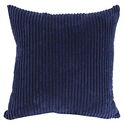 Quadrat/Rechteck solide Leinen Baumwolle Kord Karo deko Kissen Kissen werfen Kissenbezug für Home Büro Bett Sofa Wohnzimmer Esszimmer Schlafzimmer Küche (Dunkelblau) -