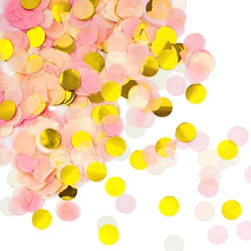 Oblique Unique® Papier Konfetti Rosa Gold Weiß Tisch Deko Streu Dekoration für Geburtstag Feier Party Hochzeit JGA Jubiläum