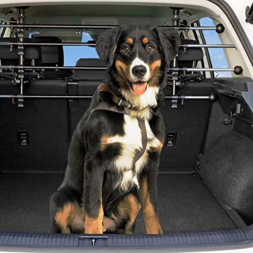 Dekolona ® Auto Hundegitter - Mit gratis Transporttasche - Optimaler Halt Dank Teleskopstangen - Kinderleichte Montage ohne Werkzeug - Universal Kofferraum Trenngitter für Hunde