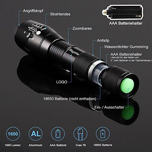 Bagotte LED Super Hell 1600 Lumen CREE T6 Taktische 5 Leuchtmodi, Zoombar Wasserfest Tragbare Taschenlampen mit Einstellbar Fokus für Wandern Camping Handlampe, Schwarz (2 Stück) - 2