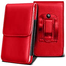 SHARP AQUOS CRYSTAL Holster Case - ( Red ) Universal Vertical Pouch Flip Belt Clip PU Leather Wallet Case Bag ( SHARP AQUOS Funda Crystal Case - ( rojo ) Universal funda Vertical Flip Clip de cinturón de cuero pu Bolsa funda monedero  )