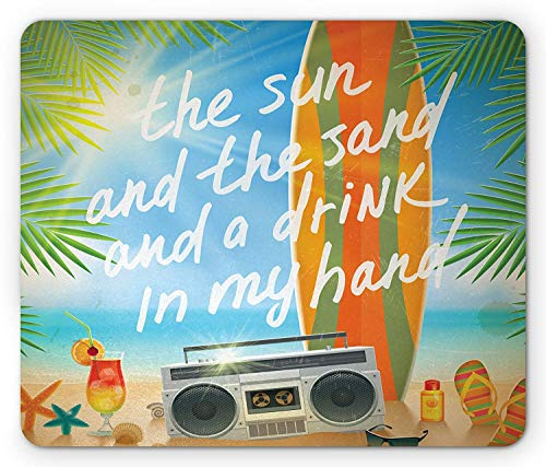 WYICPLO Quote Mouse Pad, Retro Design Tropical Beach with Surfboard Palm Leaves Flip Flops and Sunglasses, Standard Size Rectangle Non-Slip Rubber Mousepad, Multicolor