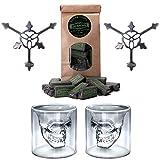 """""""Testa di Morto"""" Assenzio / Absinthe Bicchieri & Cucchiai Set - 2x Bicchiere da Assenzio - 2x Cucchiaio da Assenzio - 1x Zucchero"""