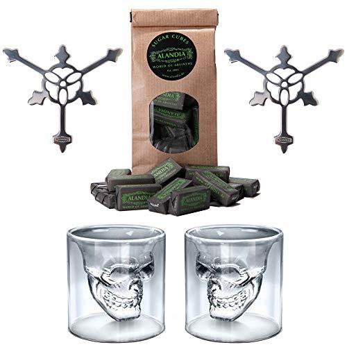Absenta / Absinthe Vasos / Copas y Cucharas | 2x Vasos Calavera / Copas de Cristal | 2x Cuchara de Acero Inoxidable | 1x Absenta Azúcar