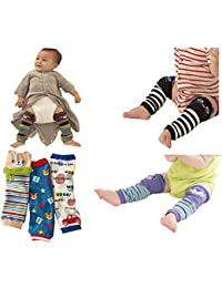 HLSL ® Lot de 6 coton peigné Ours Cartoon bébé genouillères unisexe Leg Protector rampants chaudes Pads Manchettes