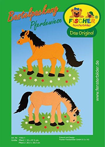 Fischer Fensterbilder PFERDEWIESE/Kinder Bastelpackung/ca. 33x37,5 cm und 26,5x38,5 cm/zum Selberbasteln/Basteln mit Pappe und Papier für Kinder