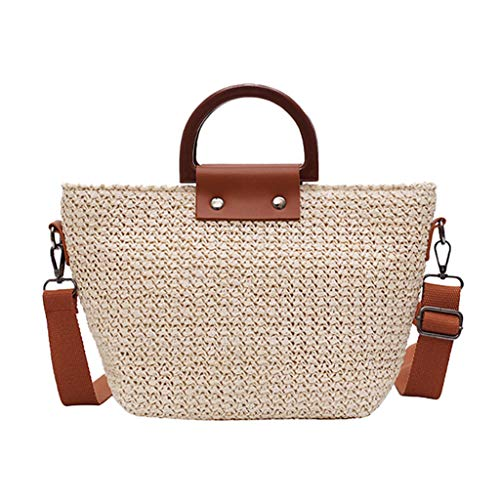XNBZW Crossbody Tasche Handtaschen Damen Stroh Weave Retro Klassische Wilde Lässige Einfache Mode Tote Umhängetaschen Für Urlaub Freizeit Shopping Strand 2019 Weiß (Zara Shopping Tasche)