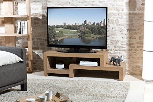 Macabane Meuble TV en décalé Bois, Miel Clair, 130 x 45 x 40 cm