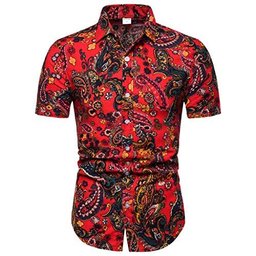 CICIYONER Freizeithemd - Herren Kurzarm-Shirt für Herrenmode Print Sommer Freizeit Hemd Kurzarm Slim Fit Reise Polohemd für Männer