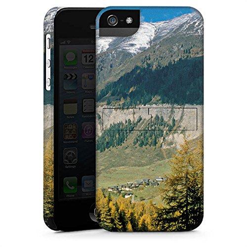 Apple iPhone 5s Housse Étui Protection Coque Montagne Colline Paysage CasStandup blanc