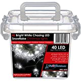 WeRChristmas Chasing LED Snowflake Lights String Christmas Tree Decoration - 40-Piece, Bright White