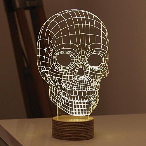GARY&GHOST 3D LED Lampe, Schädel-Form Lichteffekt, USB Leuchten, für Halloween Weihnachten Party, Warmweiß (Halloween Schädel Leuchten)