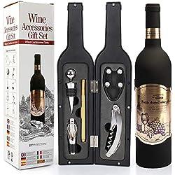 Yobansa Ensemble d'accessoires pour Le vin en Forme de Bouteille de vin,Ensemble d'ouvre vin Comprend Tire-Bouchon à vin,Bouchon à vin,verseur pour Le vin (Bottle 04)