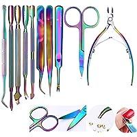 Nacido Pretty Nail Art Pedicura Herramienta Set Chameleon–Kit de arco iris Color Empujador de cutícula y remover–Tijeras para manicura maquillaje