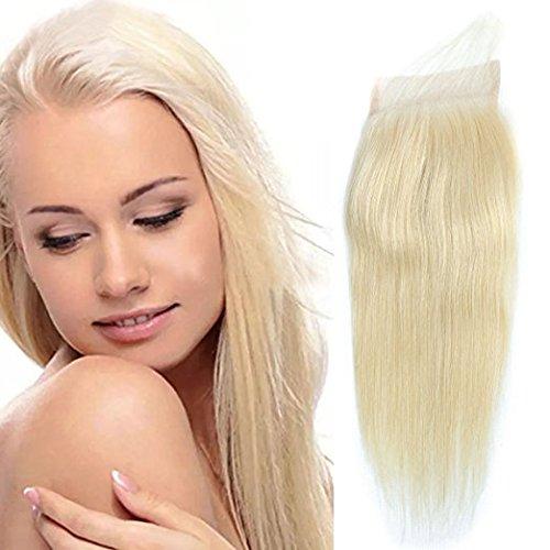 """Meisi hair 613 blonde - extension per capelli, capelli remy vergini, capelli brasiliani, capelli umani 6a, setosi, lisci/onde naturali, decolorati naturalmente, nodi decolorati, pizzo svizzero superiore da 20,3-50,8 cm (8-20""""), taglia capelli 10,1 x 10,1 cm (4 x 4"""")"""