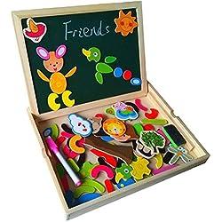 Fajiabao Rompecabezas caja de madera Magnética de Tablero Educativo Pizarra para Niños de 3 Años +