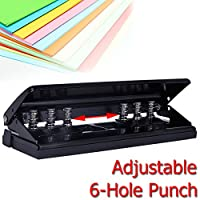 Caveen 6-Hole Punch Adjustable Heavy Duty Hole Punch Loose-Leaf Diaries Organizers Universal Paper Punch - 7.6